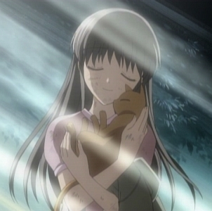I hope this counts Tohru hugging Kyo in his cat form