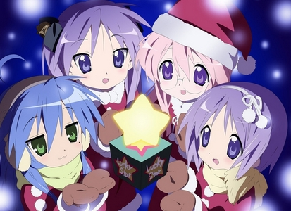 Oh How Cool!x3 Anyway here's a picture of The Lucky star, sterne main cast in Snow! Hope Du Like It!^^