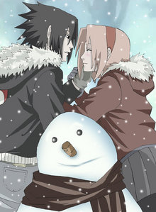 Sasuke and Sakura in the snow <3 :3