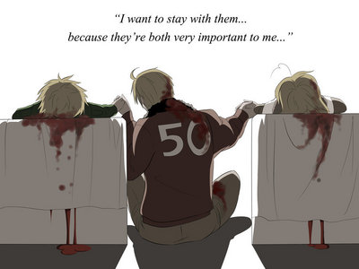 This is actually from HetaOni (saddest thing ever) but it is based on hetalia...It is pretty sad if 당신 have watched Hetaoni...