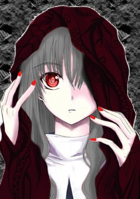 Here is a cute anime girl with grey hair and red eyes.