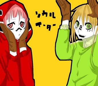 Maka and Crona from Soul Eater dressed up as Miku and Gumi in Matryoshka!