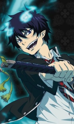 Rin from Ao no exorcist (blue exorcist) He has blue hair!