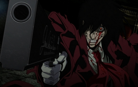 Okay here's one of my 最喜爱的 pictures of Alucard! I think it looks pretty cool,scary and epic at the same time!x3