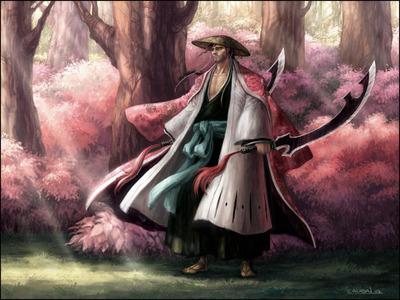 Shunsui Kyoraku, Captain of Squad Eight. Bleach!
