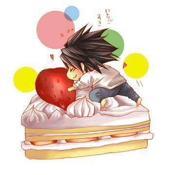 L and his cake... ^-^