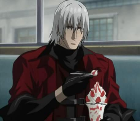 Dante from Devil May Cry eating a Strawberry Sundae.
