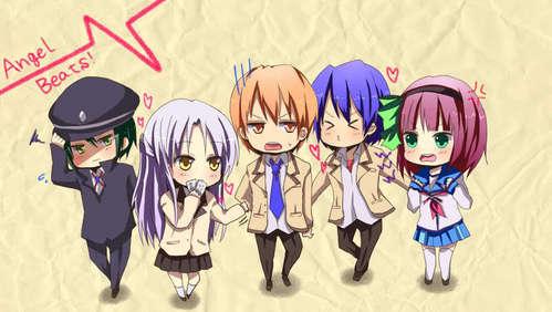 Yurippe-chan,kanade,naoi(<3),otonashi,nd hinata from 天使 beats~!!! 爱情 that anime<3~!