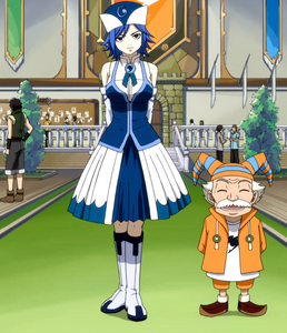 My 最喜爱的 color is blue and white/silver... So, my pic of a character with blue hair is Juvia e with a white hair is Makarov, from Fairy Tail! ^_^