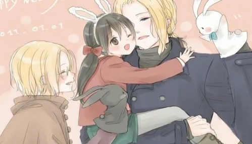 France and his kids. X3