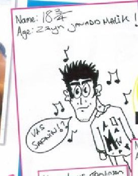 His middle name is Javadd guys he drew a pic of himself for an interview and look how he spelt his middle name!!!!!