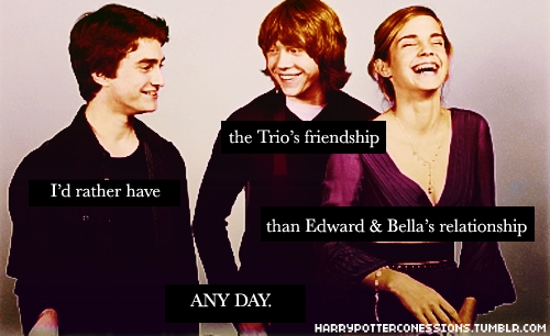 I would be really reallly sad that my Golden Trio's friendship is OVER in life, but I'd still be happy with the way they died. They died together as friends...and that's all I could've asked for. But then, that's like saying goodbye to the kids from the epilogue. And I can't do that. It's the one thing that keeps me going, knowing that the Harry Potter world just keeps on going and going and going. I don't know, but I guess I would be totally okay with that ending. But I would cry buckets.