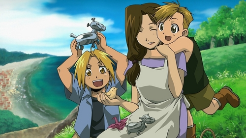 Edward and Alphonse Elric with their mom Trisha Elric.
