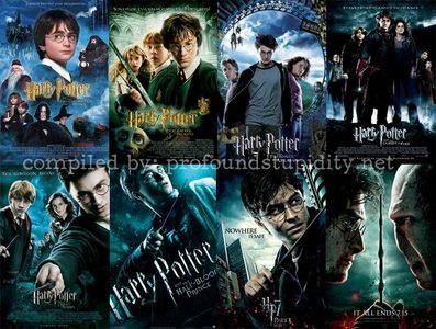 Harry Potter and the Socerer's Stone Harry Potter and the Chamber of Secrets Harry Potter and the Prisoner of Azkaban Harry Potter and the Goblet of 불, 화재 Harry Potter and the Order of the Phoenix Harry Potter and the Half Blood Prince Harry Potter and the Deathly Hallows part 1 Harry Potter and the Deathly Hallows part 2
