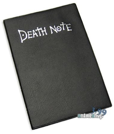 -hands آپ a death note- Here's the Death Note. Now, we don't want this to get lost یا stolen, do we? Write your name in the front so everyone knows it's yours if آپ loose it.