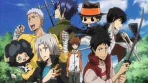 Sawada Tsunayoshi(in the middle)with his guardians in Katekyo Hitman Reborn!