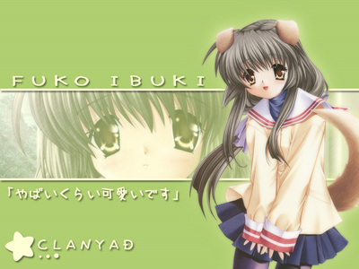My favorito! charater currently is Fuko Ibuki from the anime Clannad. I like that she is hilarious, independent, and the fact that she's not afraid to act so childish at an adult age. I really adore her alot!<3 She's also soo ADORABLE!!! 8)