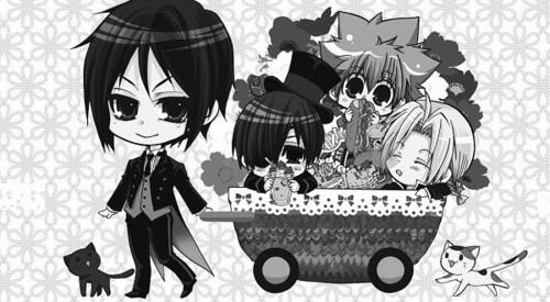 Sebastian is pulling a cart, troli with Ciel, Tsuna, & Edward in it. X3