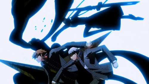 Yu & Yosuke from Persona 4 the Animation. Yu punched Yosuke. in the background are their persona's..or in Yosuke's case, Shadow Yosuke.
