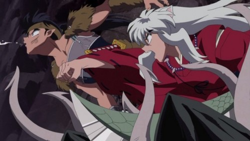 Inuyasha punches Koga!