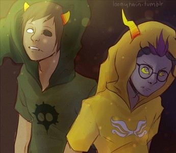 Eridan Amporaand Sollux Captor from Homestuck. but probably because I feel red for them.