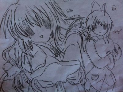 prob fuko and nagia from clannad~ FUKOS HAIR WAS RELLY HARD ND THE EYES R ALL SLOPPY :P i couldnt decide as well~