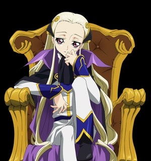 V.V was más active during the Black Knights' segundo uprising. He leads the Geass Directorate, a secret organization that studies and produces Geass users, as with Jeremiah Gottwald's Geass Canceler. When Cornelia comes to stop the Geass research, she tries to kill V.V por throwing a cuchillo at him (assuming him to be an individual with a Geass power). He shocks her por pulling the cuchillo out, despite that it was burried deep in his forehead, and takes her prisoner. The research would stop as the Black Knights invaded the Order killing all the researchers, civilians, and subjects, as well eliminating all traces of their research. In the ensuing chaos, he pilots the Siegfried during Lelouch's assault on the Geass Directorate. Though he manages to hold his own at first, he is caught off-guard por Cornelia, who has hotwired a damaged akatsuki with an array of weapons. She and Lelouch destroy the Siegfried together. He manages to reach the Twilight Door to the Thought Elevator in the complex only to have his Code taken por Charles, leading to his death and granting the Emperor immortality. Credit: V.V.-Code Geass Wiki