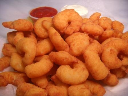 me and my seas had popcorn-shrimp fore breakfast at one time that was a good hari and fun . :)