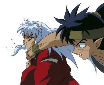Koga punches inuyasha!!!!!!! :D