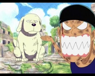 I get about as irritated as Zoro looks in this picture... But, seriously, One Piece is really good. Only One Piece and Bleach hold my true obsession in life. Oh, btw, the giant dog is a Naruto peminat XD