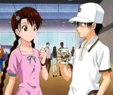 "Ryoma Echizen and Sakuno Ryuzaki ""RyoSaku"" they're such a cute couple^^"
