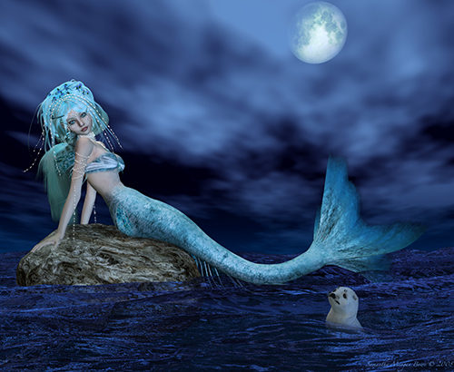 I made this mermaid in the 3D Art software Poser 7. This was my 2nd render using this app. Postwork done in Photoshop. The original is much larger. I hope you like her. Personal use only please. Thanks. :)