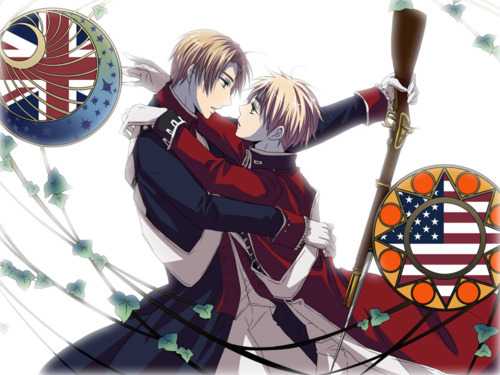 I am not much of a straight pairing person. My Favorit Yaoi couples are America x England France x Canada Germany x Italy Germany x Prussia China x Russia China x Japan Romano x Spain I don't like straight pairings because for some reason girls annoy me. (I am a girl) I feel like Yaoi is better for Hetalia. America x England I have a VERY good reason. It's their history. The Revolutionary War made me cry boot loads of tears. There past was so joyful yet utterly tragic, and now look at them! America is always happy, and England always yelling at France for molesting him oder something (FRUK SUCKS ASS) I believe in the red string of fate. America is obviously tied to England if Du don't see that Du are not pure enough. Du don't understand the torture England went through that day...America left him...Alone on the battle field. Covered in blood, mud, and ice cold tears streaming down his face. He tried to get America to turn around, but the tears were to much. England helped America become who he is today. No one can deny it. America was always protecting England after that. If Du don't see the Liebe in that then Du can go molest France.