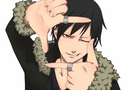 anime name: Durarara!! Name: Orihara Izaya Age: 23 (claims to be 21 FOREVER) Color of hair: Black (I'm now obessed with him and this picture XD)