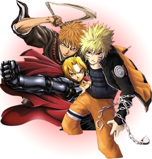 1.Naruto 2.Bleach 3.Bakugan 4.Vampire Knight 5.Death Note 6.Devil May Cry 7.Yu-Gi-Oh 8.Ouran High Host Club 9.Full Metal Alchemist 10.Dragon Ball Z