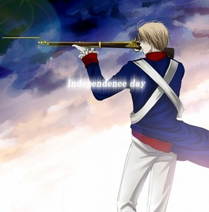 Some American on a rev. War anime with a MUSKET!!! woot! lol