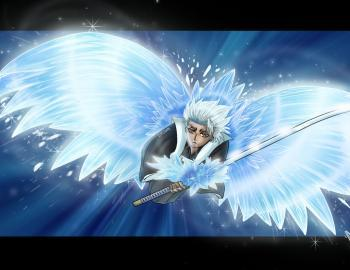 "Toshiro can fly during his bankai... ""reign over the frosted heavens HYORINYOMARU!"""