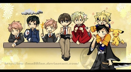 The ouran host club cosplaying.