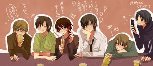 junjou romantica and sekaiichi hatsukoi (from left: onodera, chiaki, misaki, hiroki, shinobu, kisa). the word is crossover sa pamamagitan ng the way...