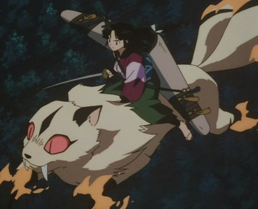 Someone who can fly..hmm..well um how about Kirara from InuYasha?