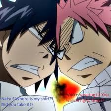 lol natsu and gray! they will always be rivals no matter what XD