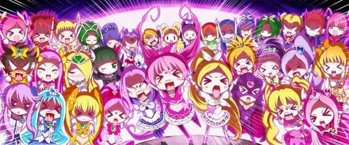 Give the PrettyCure series a try for magical girl series. :) The PreCure series in order; Futari wa Pretty Cure -Futari wa Pretty Cure Max hati, tengah-tengah Futari wa Pretty Cure Splash★Star Yes! PreCure 5 -Yes! PreCure 5 GoGo! Fresh Pretty Cure! HeartCatch PreCure! Suite PreCure♪ Smile PreCure!