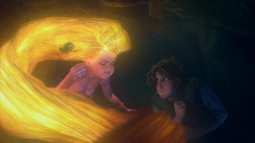 Rapunzel's hair, underwater. Just about any shot featuring Rapunzel's hair is spectacular, but the underwater shots particularly so.