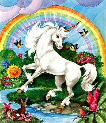 On a unicorn.