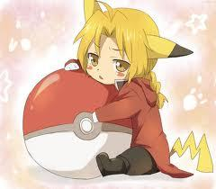 none of thy obuv full metal alchemist is beter now here's ed drssed as pikachu;3