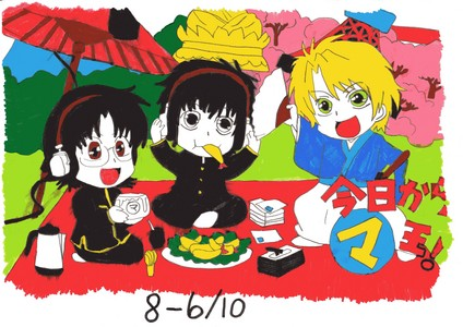 Ken, Yuri and Wolfram from Kyo Kara Maoh. i drew this a long time ago. but i thought it was cute so here 당신 go