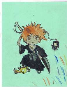Mine is pathetic compared to 당신 guys(L drawing)...but here's mine. Ichigo(with kon)