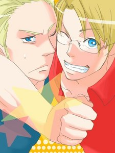 oh gosh... this is gonna be a hard one hahah uh lets go with America and Germany from hetalia (since i can't decide between them hahah) my two blonde haired blue eyed boys ;3