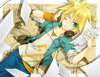 A picture of Len Kagamine from Vocaloid. <3