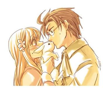 every picture i saw was ADORABLE XDD heres mine ^^ its hungary x austria o3o (i highly support this couple and if u dont, just keep scrollin o3o) its soo cute!! poor austria kissed the bunny instead CX